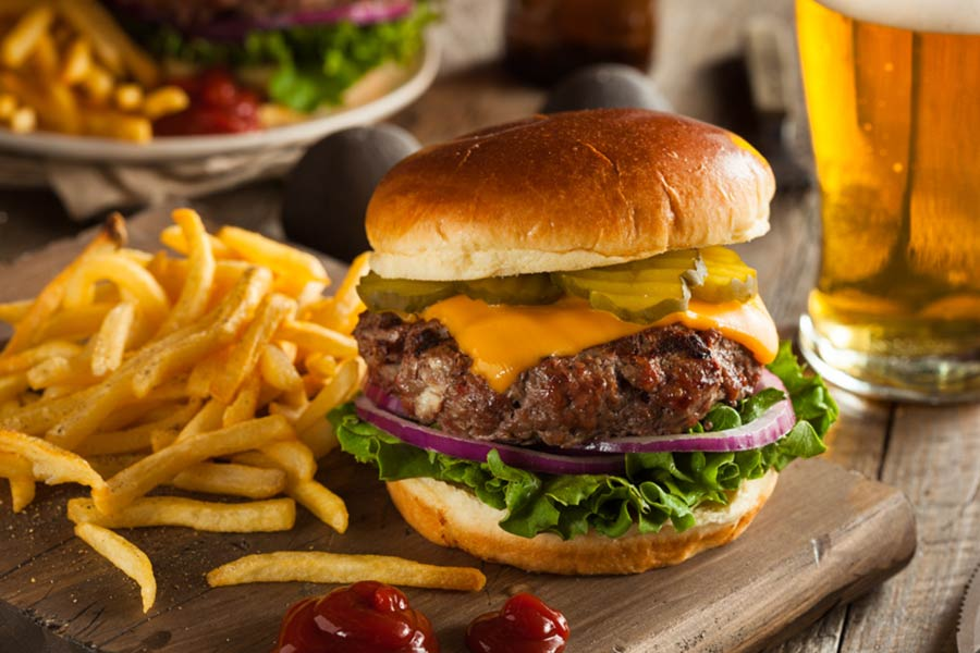 French fries, burger and beer