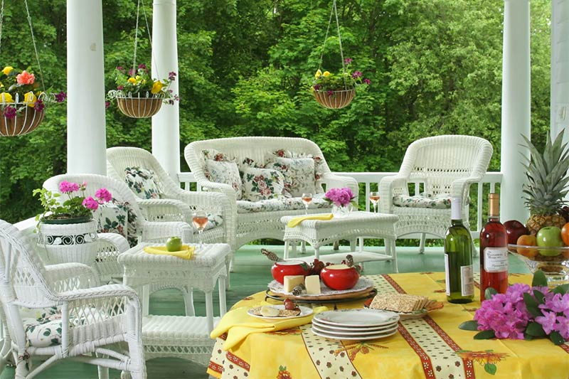 Main house rattan porch seating