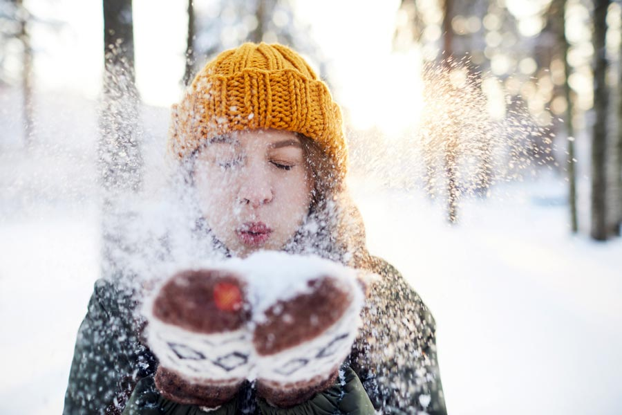young person enjoying winter in the Berkshires