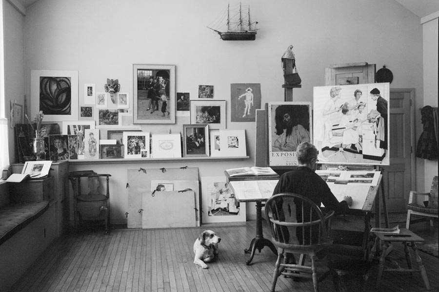 Norman Rockwell and friend in his Stockbridge studio