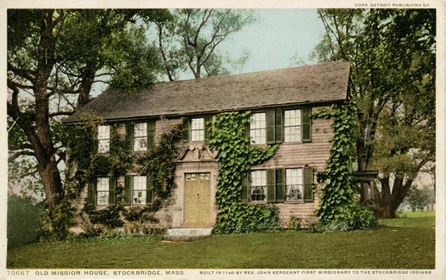vintage postcard of The Mission House in Stockbridge