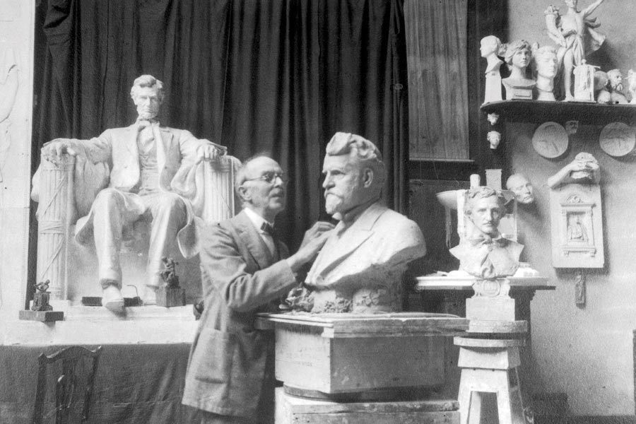 Daniel Chester French at work in his studio in Stockbridge MA